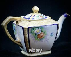 Antique 1918 Noritake Tea Set Teapot Creamer Sugar 5 Cups & Saucers GOLD