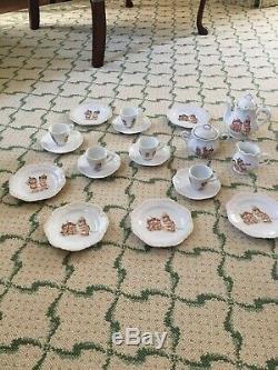 Antique 19 Piece Kewpie Doll Tea Set Teapot Rose O'Neill Wilson Germany Chips