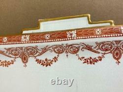 Antique 19thC WEDGWOOD Etruria Y1305 Red Gold Porcelain 6pc Tea Set Tray Teapot