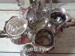 Antique 4pc Meriden Silver Co. Silverplate Tea Set Pot Cream Sugar Waste #2024
