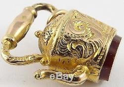 Antique 9carat gold hardstone set teapot or kettle watch fob, charm or pendant