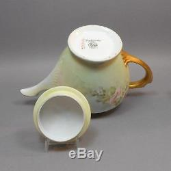 Antique Artist Signed Handpainted Limoges Porcelain Tea Set Teapot Creamer Sugar