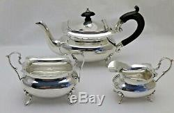 Antique Batchelor Solid Silver 3 Piece Tea Set Teapot Sugar & Cream B'Ham 1917