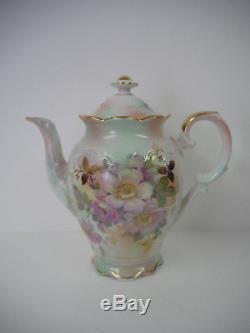 Antique Bavaria Schumann Arzberg Germany Wild Rose Tea Coffee Pot Set