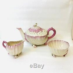 Antique Belleek Neptune Pink Tea Set Teapot Creamer Sugar 4 Cups & Saucers