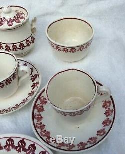 Antique Child Ironstone Set Spongeware Spatterware Tea Pot Waste Bowl Red Teapot