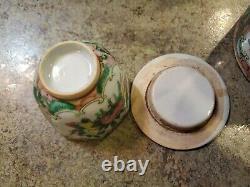Antique Chinese Wicker Basket Teapot Teacup Travel Tea Set