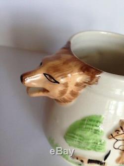 Antique ENGLAND PPC FIGURAL 3D Hunting Scene Fox Tea Pot Tea Set