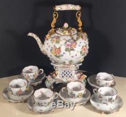 Antique German Meissen Pedestal Teapot Tea Set Cups And