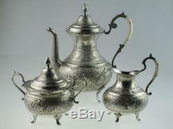Antique Islamic Persian Solid Silver Teapot Set Circa 1920 Isfahan