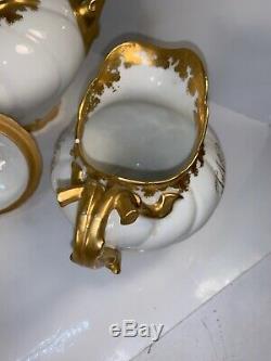 Antique J P L France Limoges Heavy Gold Gilt Tea Set Teapot Creamer Sugar