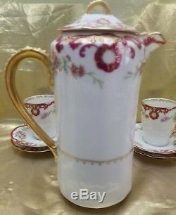 Antique Limoges Elite Bower & Dotter Chocolate Set- Pot, 2 Cups & 4 Saucers