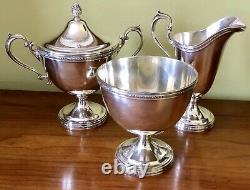Antique Manchester Sterling Silver 970 Coffee Tea Pot Waste Sugar Creamer Set