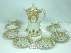 Antique NIPPON Floral Hand Painted Chocolate Pot Set Teapot 6 Cups Saucers 1911