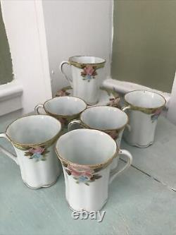 Antique Nippon Chocolate Tea Pot Set Pink Floral Gold With 6 Cups/Saucers