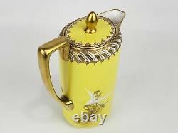 Antique Nippon Morimura Rare Yellow Flying Geese Swan Chocolate tea pot set