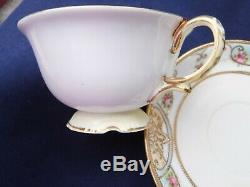 Antique Noritake Powder Blue Tea set with Pink Roses, inc Teapot