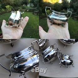 Antique Or Vintage Set Of 4 Solid Silver Teaset TeaPot Jug Bowl Coffee No Scrap