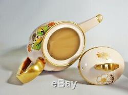 Antique RARE Carlton Ware Pink Spider's Web Coffee Set Cup Saucer Teapot Tea Jug