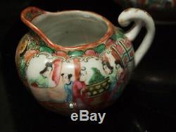 Antique Rose Medallion Chinese Tea Pot Teapot, Creamer And Sugar Bowl Set