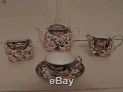 Antique Royal Crown Derby Imari Kings Pattern Cabaret Tea Set Teapot 1877 Blue M