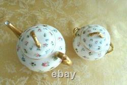 Antique Royal Worcester Porcelain Teapot/Creamer/Sugar Set Ca. 1889 Pink Roses