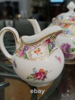 Antique Schumann Dresden Empress Teapot Sugar & Creamer Tea Set Bavaria Flowers