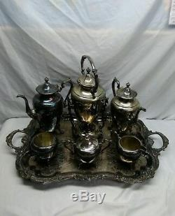 Antique Silver On Copper Tea Set 10 Pc withTilting Tea Pot & Lg Tray