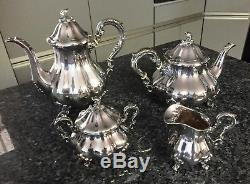 Antique Sterling Silver Coffee Pot Tea Pot Creamer and Sugar Set Simply Stunning
