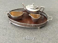 Antique Sterling Silver Miniature Doll House Tea set / Teapot / Creamer / Tray
