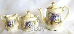 Antique Tea Set Teapot Creamer Sugar Lids Handpainted Violets Gold Trim Unmarked