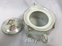 Antique Victoria Schmidt Austria Porcelain Teapot Sugar Creamer Set