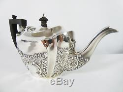Antique Victorian 1896 Sterling Silver Bachelor's 3pc Teaset Teapot Jug Bowl Set