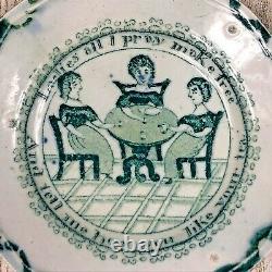 Antique Women's Suffrage Suffragette Green Transferware Teapot & Underplate Set