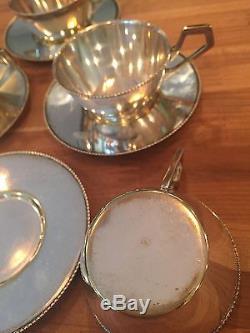 Argentor Silver Plate Art Nouveau Deco Tea Coffee Pot cups saucers Set Lot