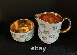 Arklow Patricia 16 pc Tea Pot Demitasse Cups Shamrock Clover Gold Ireland Set