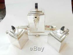 Art Deco Diament Silver Tea Pot Coffee Set Ebonised Wood
