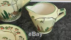 Art deco COTTAGE & HOLLYHOCKS ROYAL WINTON TEA for 2 SET including LIDDED TEAPOT