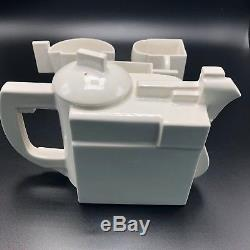 Authentic Numbered Kazmir Malevich Suprematist White Porcelain Tea Set