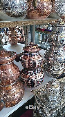 Authentic Turkish Traditional Tea Pot Handmade Handhammered Teapot Set Tea Maker