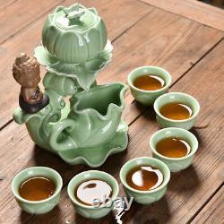 Automatic tea set pottery kungfu tea set creative tea pot with infuser tea cups2