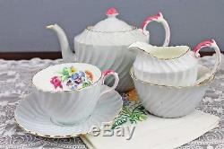 Aynsley Gray Swirled English Bone China Tea Set Teapot Cream Sugar Teacup