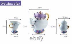 BEAUTY AND THE BEAST full tea set DISNEY teapot little mugs sugar bowl saucer