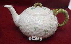 BELLEEK POTTERY Ireland SHAMROCK 6th Green Mark 23-piece TEA DESSERT Set Teapot
