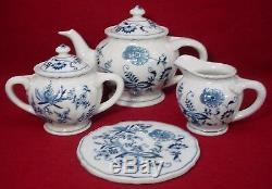 BLUE DANUBE china 24-piece TEA SET Teapot Creamer Sugar Tea Tile Cups Saucers