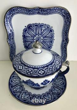 BOMBAY BLUE WHITE & SILVER PORCELIAN COVERED CUP SOUP SANDWICH LUNCHEON SET of 4
