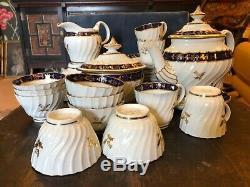 Barr Worcester C1790 Whorl Tea Set Thistle Decoration Inc Teapot Sugar Tea Bowls