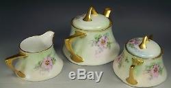 Beautiful Bavaria Hand Painted Roses Tea Pot Creamer Sugar Set