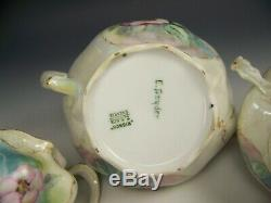 Beautiful Hand Painted Wild Roses Tea Pot Creamer Sugar Set Artist Signed Snyder