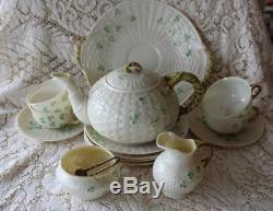 Belleek Ireland SHAMROCK 16 pc Dessert Set Tea Pot Cups Open Creamer Sugar Tray